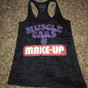Tops - Muscle car and make up tank top